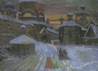 stadsvy med kyrka i vinterskrud by vladimir nikolaevitch aralov