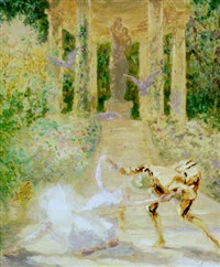 ballet in a garden with classical temple by charles paul renouard