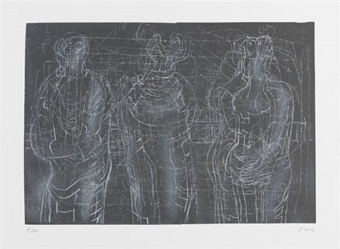 three cloaked figures ii by henry moore