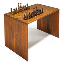 chess table and set (2 works) by arthur espenet carpenter