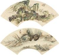 山水 (二件) (2 works; various sizes) by xiao xun