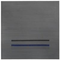 komposition mit blauen, schwarzen und grauen streifen by volker hildebrandt