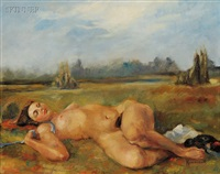 portrait of a reclining nude by robert kennicott