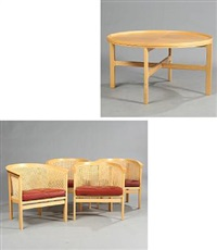 kongeserien chairs and table (model 7701) (set of 5) by rud thygesen