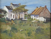 figures by cottages, west of ireland by maurice macgonigal