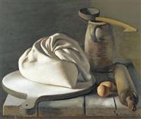 stillleben mit mehlsack, eiern, teigrolle und wasserkrug by pierre jouffroy