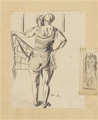 ohne titel (frau im badeanzug mit handtuch vor spiegel) by max ackermann