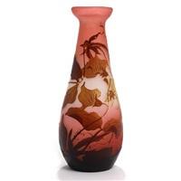 overlaid rose coloured art nouveau vase by émile gallé
