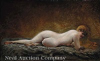 reclining red-haired nude by georges-emile viardot