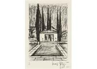 pool in le baule; st. anne's church (2 works) by bernard buffet