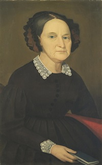 half-length portrait of a woman wearing a black dress with a lace collar and seated on a red sofa with a book in her right hand by ammi phillips