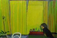yellow curtains by graham nickson