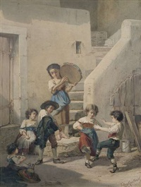 südländische straßenszene mit spielenden kindern by friedrich august von kaulbach