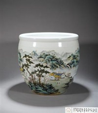 粉彩山水图画缸 by wang xiaoting