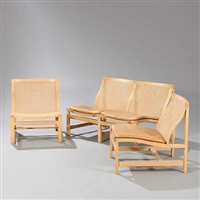 kongeserien two seater sofa and two easy chairs (set of 3) by rud thygesen and johnny sorensen