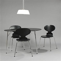 100 years jubilee set with egg table, 3 ant chairs and stelling pendant (set of 5) by arne jacobsen