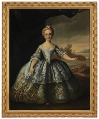 portrait of a girl of noblity, said to be marie louise, possibly 18th century by pierre gobert