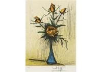 roses dans un vase bleu by bernard buffet