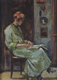 interieur mit lesender frau auf einem stuhl by fritz mock