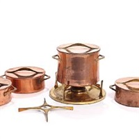 a copper and brass fondue pot with burner, three saucepans and a brass trivet (set of 5) by jens h. quistgaard and richard nissen