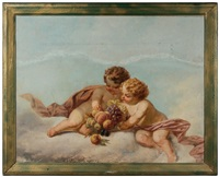 putti with fruit by hendrick joseph dillens