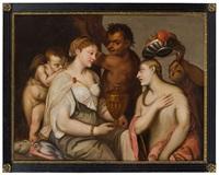 psyche überreicht venus ein gefäß mit wasser aus dem felsenquell des flusses styx, 17. jahrhundert by titian (tiziano vecelli)