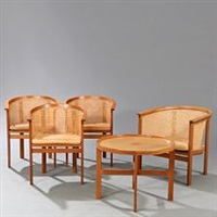 the kings furniture: four bergere chairs and circular coffee table (set of 5) by rud thygesen and johnny sorensen