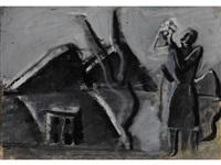 weibliche figur in landschaft by mario sironi