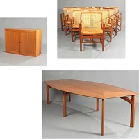 king series armchairs, conference table and bar cabinet with cooler (model lh 7512) (set of 12) by rud thygesen and johnny sorensen