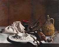 stillleben mit mehl, wallholz und korbflasche by pierre jouffroy