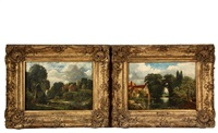 country pond scenes with cottages and a church by john constable