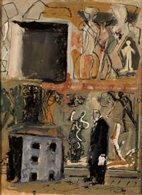 parete e figura in nero - wände und figur in schwarz by mario sironi