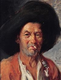 portrait eines pfeifenrauchers mit schwarzem hut by rudolf wimmer