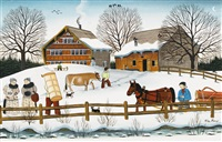 winter, holzfuhrwerk by albert manser