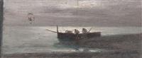 notturno con pescatori by antonio asturi