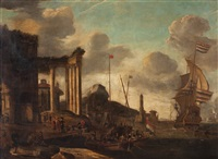 a port by the mediterranean with boats and figures by abraham jansz storck