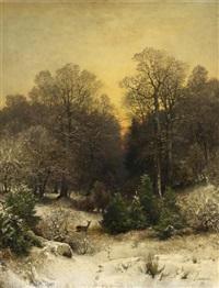 abenddämmerung über dem winterwald by sophus jacobsen