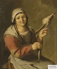 bäuerin mit einer spindel by giacomo francesco cipper