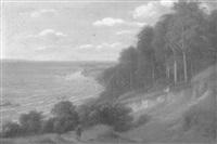 bewaldete ostseesteilküste mit jäger by friedrich ernst wolperding