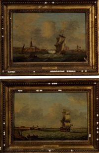 british naval harbor scene (+ another, similar; 2 works) by monamy swaine