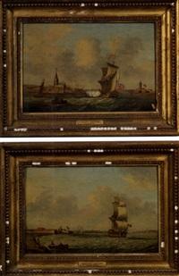 british naval harbor scene (+ another, similar; 2 works) by monamy swaine