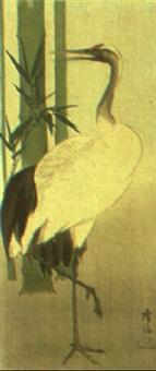 darstellung eines kranichs im bambus by takaharu
