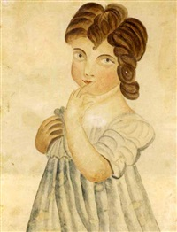 portrait of girl in blue dress by emily eastman