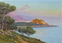 coucher de soleil au cap ferrat by adelin charles morel de tanguy