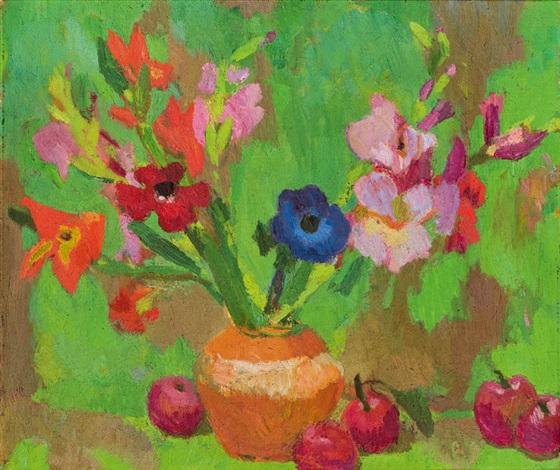 stillleben mit anemonen lilien und äpfel by hans böhler