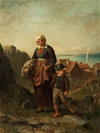 fisherwoman with boy by bengt nordenberg
