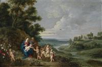 die heilige familie mit dem johannesknaben, engeln und lamm by pieter von avont, lucas van uden, and jan brueghel the younger