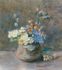 stillleben mit frühlingsblumen by maria bauer