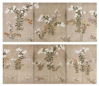 chrysanthemums (pair in 12 parts) by japanese school-sotatsu (17)