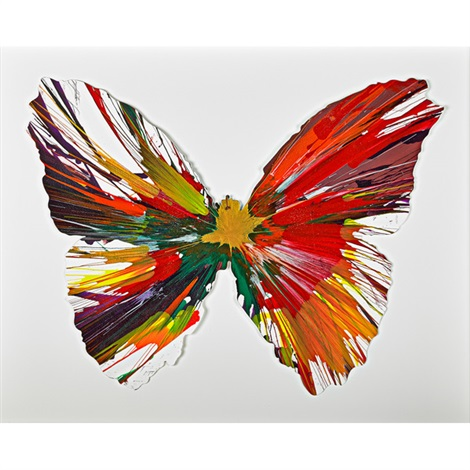 butterfly spin painting created at damien hirst spin workshop by damien hirst